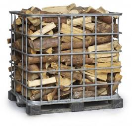 Brennholz Fichte in der Gitterbox