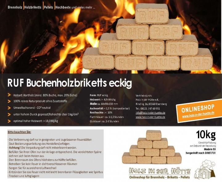 RUF-Briketts eckig - reine Buche - (10 kg)