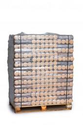 Buchenbriketts rund ohne Loch auf ganzer Palette