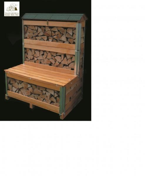 Holzregal mit intigrierter Sitzbank